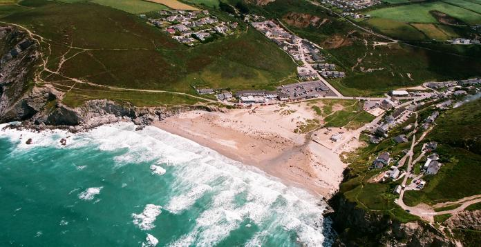The blue bar from the sky, PorthtowanBeach, Cornwall, UK.