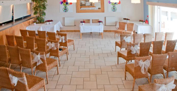 WEDDING civil ceremony in the Boardroom at blue Porthtowan Beach, Cornwall, UK