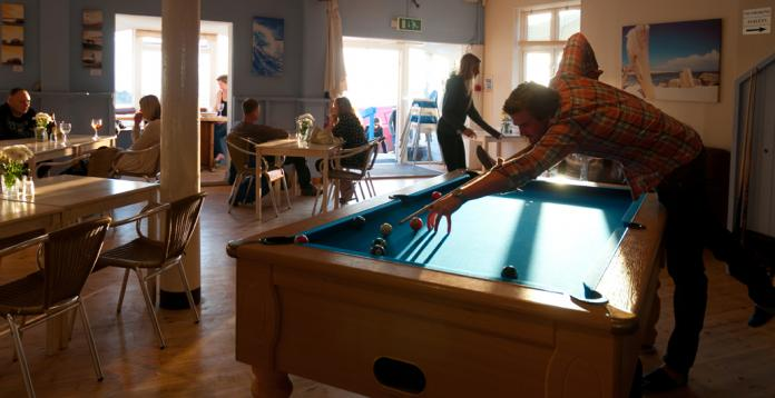 pool table at blue bar, Porthtowan,Cornwall, UK.