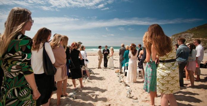 weddings - beach blessing at porthtowan, Cornwall, UK. Blue bar & the boardroom.