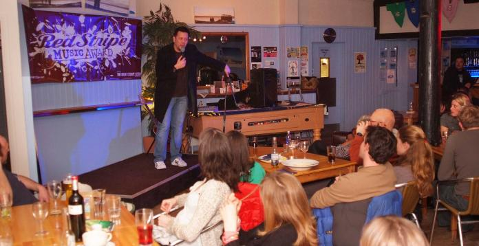 Monthly Comedy at blue & the boardroom, Porthtowan Beach, Cornwall, UK.