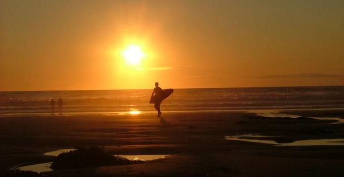 Sunset and surf at Porthtowan