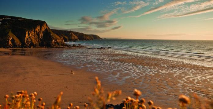 Porthtowan Beach, looking south, sept 2010. Cornwall Uk.